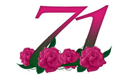 Number 71 floral. Cute pink rose decorated number Royalty Free Stock Photo