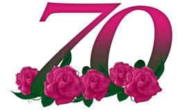 Number 70 floral. Cute pink rose decorated number Royalty Free Stock Image