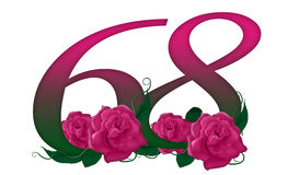 Number 68 floral. Cute pink rose decorated number Stock Illustration