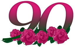 Number 90 floral. Cute pink rose decorated number Royalty Free Stock Image