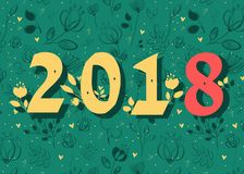 Number 2018. Floral numerals stock image