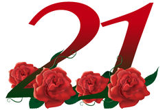 Number 21 flower. Red rose decorated lovely number Stock Image