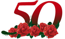 Number 50 flower. Red rose decorated lovely number Stock Photography
