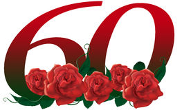 Number 60 flower. Red rose decorated lovely number vector illustration