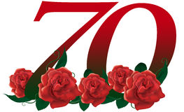 Number 70 flower. Red rose decorated lovely number Stock Images