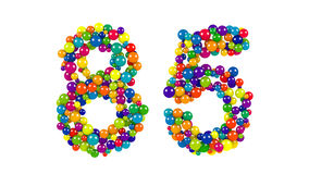 Number 85 formed of colorful balls Stock Image