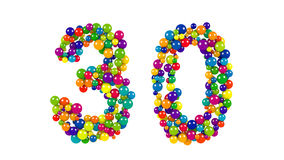 Number 30 formed of decorative rainbow balls Royalty Free Stock Images