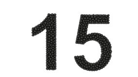 Number 15 formed of packed small black balls stock video