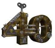 Number forty. Steampunk number forty on white background - 3d illustration stock illustration