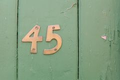 Number Forty Five. The numbers forty five on a house front door royalty free stock images