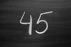 Number forty five enumeration written with a chalk Royalty Free Stock Photo