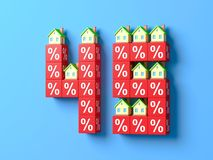 Number Forty Five With Miniature Houses And Red Percentage Blocks. 3d Illustration vector illustration