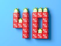 Number Forty With Miniature Houses And Red Percentage Blocks. 3d Illustration royalty free illustration