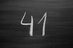 number forty one enumeration written with a chalk Royalty Free Stock Photography