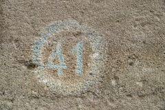 Number forty one on a wall. As a background royalty free stock photos