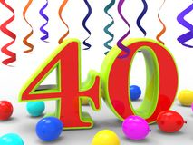 Number Forty Party Shows Fortieth Birthday Stock Photos