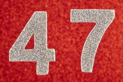 Number forty-seven silver color over a red background. Anniversa. Ry. Horizontal Stock Illustration