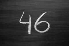 number forty six enumeration written with a chalk Royalty Free Stock Photo