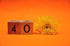 Number forty with a yellow daisy. On an orange background stock photo