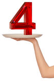 Number four. On the plate for fourth ring Royalty Free Stock Image