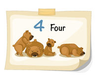 Number four bear vector Royalty Free Stock Photos
