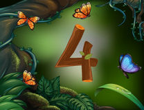 Number four with 4 butterflies in the garden Stock Photography
