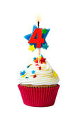 Number four cupcake Stock Images