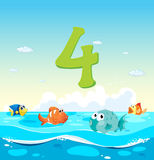 Number four with 4 fish in the ocean. Illustration Royalty Free Stock Photography