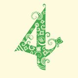 Number four in green Stock Photo