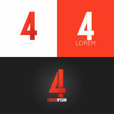 Number four 4 logo design icon set background Royalty Free Stock Photography