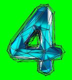 Number 4 four in low poly style blue color isolated on green background. 3d. Rendering Royalty Free Illustration