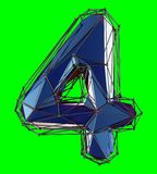 Number 4 four in low poly style blue color isolated on green background. 3d. Rendering stock illustration