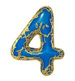 Number four 4 made of golden shining metallic with blue paint isolated on white 3d royalty free stock images