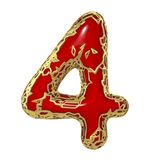 Number four 4 made of golden shining metallic with red paint isolated on white 3d. Rendering Stock Illustration