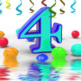 Number Four Party Displays Colourful Birthday Party Or Celebrati Stock Photo