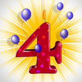 Number Four Party Means Wax Cake Candle Or Birthday Candle Royalty Free Stock Images