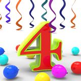 Number Four Party Shows Creative Decoration Or Stock Image