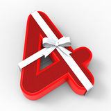 Number Four With Ribbon Shows Wishing Royalty Free Stock Images