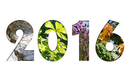 Number 2016 from four seasons photos for calendar Stock Image