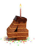 Number four shape birthday cake Royalty Free Stock Image