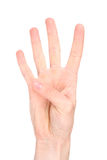 Number four in sign language Royalty Free Stock Image