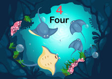 Number four stingray under the sea vector. Illustration of number four stingray under the sea vector Royalty Free Stock Photo