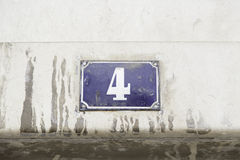 Number four on the wall of a house Royalty Free Stock Photos