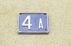 Number four on the wall of a house Royalty Free Stock Photography