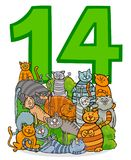 Number fourteen and cartoon cats group. Cartoon Vector Illustration of Number Fourteen and Cat Characters Group royalty free illustration