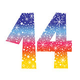 Number fourteen. Decorative celebratory design Stock Images