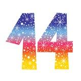 Number fourteen. Decorative celebratory design vector illustration