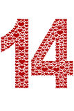 Number Fourteen Made Of Hearts. Isolated on white royalty free illustration