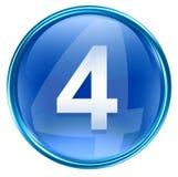 Number fourth icon blue. Number fourth icon blue, isolated on white background Stock Photos