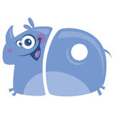 Number 10 funny cartoon happy smiling rhino running. Number 10 funny cartoon happy smiling purple rhino with big horn running Stock Photo